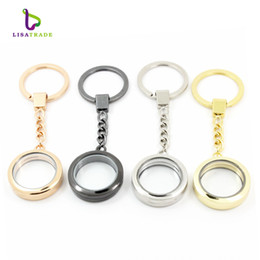 Wholesale Heart Locket Keychain - 30mm Round magnetic glass locket keychains floating charm locket keychain 4 Colors can choose Zinc Alloy LSFK02