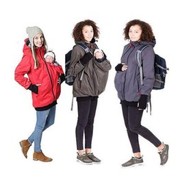 Wholesale Maternity Spring Outerwear - Baby Carrier Jacket Kangaroo Winter Maternity Outerwear Coat for Pregnant Women Thickened Pregnancy Wool Baby Wearing Coat Women