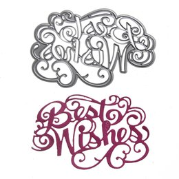 "Wholesale Metal Albums - 1pcs Metal Steel "" Best Wishes "" Letter Cutting Dies Stencil For DIY Scrapbooking Album Paper Card Photo Decorative Craft"