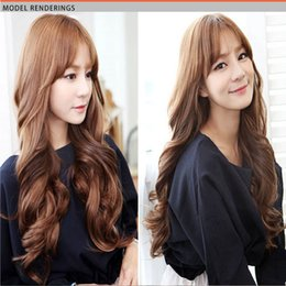 Wholesale Wide Hair Extensions - 1pcs Fashion Hairpieces Hair Extension 45cm Long 28cm Wide Natural Hair Flutty Wavy Women False Hair Synthetic Hair Extension