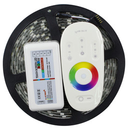 Wholesale Touch Screen Ip65 - IP65 Waterproof RGBW LED Strip 5050 DC12V 60leds m 5m Flexible LED Light+ 2.4G RGBW   RGBWW touch screen RF remote control