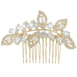 Wholesale Gold Hair Tone - Bella Wedding Hair Comb For Bride Cubic Zircon Gold Tone Bridal Hair Jewelry For Bridesmaid For Lover