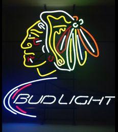 Wholesale Bud Sign Light - Fashion New Handcraft Bud Light Chicago Blackhawks Real Glass Tubes Beer Bar Pub Display neon sign 19x15!!!