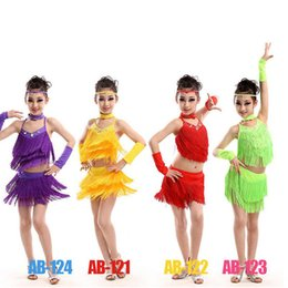 Wholesale Latin Dresses Woman Dance - Red Yellow Girls Tassles Latin Dance Dress Ballroom Stage Wear Black Tango Dress Kids Salsa Performance Competition Dancewear Cotumes