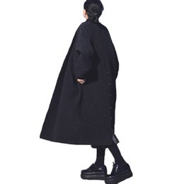 Wholesale Big Buttoned Trench Coat - Womens Fur Overcoat Long Sleeve European and American Big Brand Long Loose Black Windbreaker Long Trench Coat for Women winter &spring