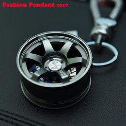 Wholesale Stainless Steel Car Wheels - Wheel Rim Keychain Creative Auto Parts Model Automotive Accessories Spinning Metallic Key Chain Ring Keyring Keyfob