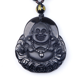 Wholesale Thai Pendants - 2016 New Natural Black Obsidian Maitreya Stone Pendants & Necklace Matte Laughing Buddha Thai lucky Women Jewelry