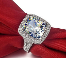 Wholesale Sapphire Ring Sets - Wholesale fine Hot sale Jewelry 8CT Big White sapphire 14kt white gold filled GF Simulated Diamond Wedding Engagement Band Ring lovers gift