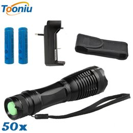 Wholesale Cree Flashlight Pouch - 50set DHL ship E17 CREE lanterna XM-L T6 4000LM led torch led flashlight + 1*Charger + 2x 18650 Rechargeable Battery + 1* Black Cover Pouch