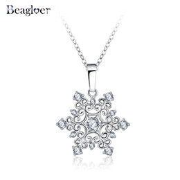 Wholesale Platinum Plated Jewellery - Beagloer Exquisite Snowflake Pendant Platinum Plated with Zirconia Jewellery Valentine's Day Gift CNL0215-B