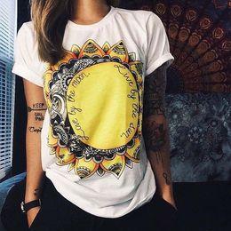 Wholesale Owl Sleeves - Women's T-shirt Summer Cotton Owl Sun Flower Printed Short Sleeves Women T Shirt O-neck Tank Top