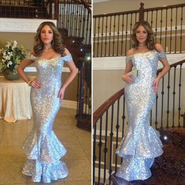 Wholesale Long Dresses For Dinner - Pretty Long Sequin Mermaid Evening Dress Simple Ruffled Women Evening Dresses Cheap Formal Gowns For Dinner Party Dress