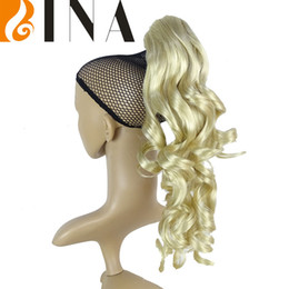 Wholesale Blonde Claw Hair Extensions - clips hair claw clip ponytail blonde extnsions for white women curly weavy synthetic clip in hair extensions blond 1pieces lot free shipping
