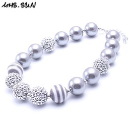 Collares de plata para niños online-MHS.SUN Silver Color Design Kid Chunky Necklace Colgante de moda Bubblegum Bead Chunky Necklace Joyería de los niños para Niñas