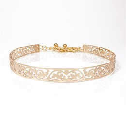 Wholesale Leather Gold Plate Belts Wholesale - Wholesale- 2017 New female Full Metal Mirror thin Waist Belt Women Metallic Gold Plate With Chains Lady Punk Rocky waistband for women BL26
