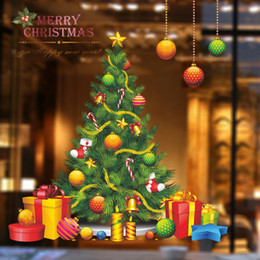 Wholesale Decorative Wall Decals Trees - Christmas Tree Window Wall Stickers Window Waterproof Glass Stickers Creative Decorative Stickers for Children's Room Living Room Art Decal