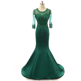 Wholesale Emerald Green Sashes - Emerald green Long Mermaid Evening Dresses 2017 with Crystal Beaded formal prom gowns Satin Fabric Free Shipping