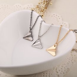Wholesale Silver Paper Airplane - airplane Pendant necklaces band One Direction replica Origami Paper Plane Necklaces simple Fashion Jewelry women free shipping