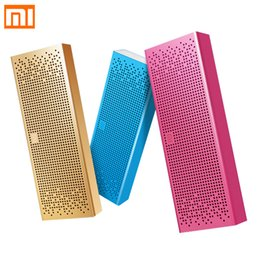 Wholesale Speakers Square - Wholesale- Original Xiaomi Bluetooth Speaker Square Box Mini Wireless Metel Stereo Portable MP3 Player Handsfree Bluetooth 4.0