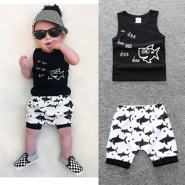 Wholesale Cute Baby Suits For Boys - Kids Clothing Sets Summer Baby Clothes Cartoon Fish Shark Print for Boys Outfits Toddler Fashion Tshirt Shorts Children Suits Cute