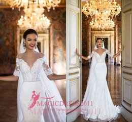 Wholesale Heavy Wedding Dresses - 2017 Milla Nova Lace Wedding Dresses Mermaid Sheer Neck Heavy Embellishment Illusion Bodice Half Sleeves Court Train Vintage Bridal Gowns