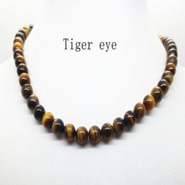 Wholesale Tiger Necklace Men - 2017 Hot White 8MM Natural Turquoise Lava Amethyst Tiger Eye Beaded Choker Necklace For Women Men Jewelry Choker Body Chain