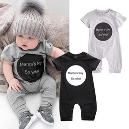 Wholesale Pants Boys Big - 2017 Big words Black Baby Clothes Cotton Baby Pants Crawling Clothes Round Neck Short Sleeves Cool Boy Romper MBR001