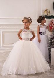 Wholesale Designer Shirts Children - O-Neck Ball Gown Open back Applique Beaded Satin Bows Sash Tiered tulle Flower Girl Dresses children dress up costumes