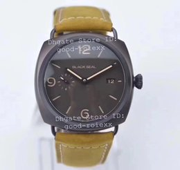 Wholesale Seals Watch - Top Mens Automatic Cal P.9000 Black Seal Watch Men Sapphire Pam 505 Date Pam505 Waterproof Reserve Leather Reserve Sport 45mm Watches