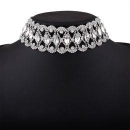 Wholesale Gem Collars - 2017 Fashiongeometric collar Choker Necklace Female Trendy Ethnic Geometric Crystal Hollow out gem maxi statement necklace Women wholesale