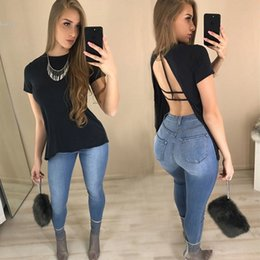Wholesale Woman S Back - Designer t shirt women New Fashion Casual tops Back Split Pullover Sexy Blouse Plus Size Loose O-Neck Short Sleeve Solid Black Clothing