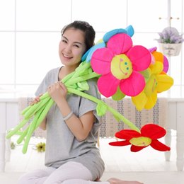 Wholesale Curtain Buckles - Sunflower Curtain Buckle Cartoon Creative Bouquet Soft Plush Dolls Filled With PP Cotton Hand Made For Gift Multicolor Select 32CM 1 3mmx I1