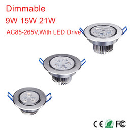 Wholesale 1w Led Spot Lights - Wholesale- Hot Sale CREE 9W 15W 21W LED Downlight Dimmable Warm White Cold White Recessed LED Lamp Spot Light AC85-265V LED Indoor light