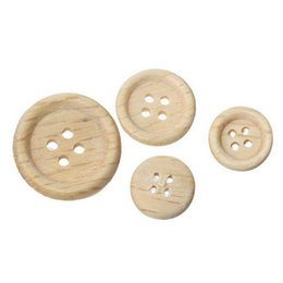 Wholesale Craft Books Wholesalers - Natural Color Wooden Hollow Round Buttons With 4 Holes (12mm-22mm) Random Sizes For Crafts Pincushions Scrap Booking Pack Of 100pcs I511L