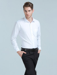 Wholesale Age Breast - Thin Style Men's Solid White Blue Black Pink Shirt Business Middle-aged Work Bridal Groom Shirts Cheap 2017 V06