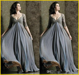 Wholesale Long Sleeve Empire Waist Gown - Deep V-Neck 2018 Plus Size Empire Waist with Half Sleeve Lace Chiffon Long Mother Of The Brides Dress Formal Ball Gowns