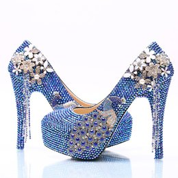 Wholesale Blue Shoes For Bride - Royal Blue AB Crystal Wedding Dress Shoes with Phoenix Women High Heels for Party Rhinestone Bride Shoes Cinderella Prom Pumps
