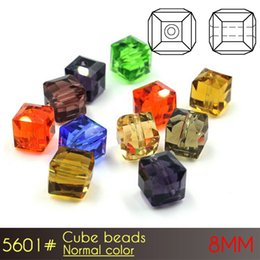 Wholesale Silver Jewellry Sets - 8mm Cube Beads Normal color A5601 100pcs set Glass Square Beads Jewellry Beads for Women Dresses