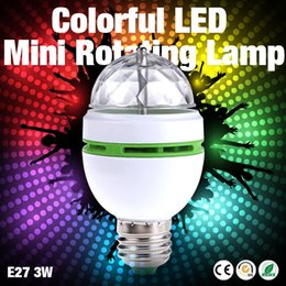 Wholesale Cheap Lights Bulbs - Wholesale- Factory Cheap Sale NEW E27 3W Colorful Auto Rotating lampada 85-260V Bulb Stage Light Party Lamp Disco MIni RGB LED Nightlight