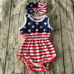 Wholesale Usa Headbands - summer 4th of july independence day toddler girls rompers tassel baby fourth of july american flag usa jumpsuit infant boutique clothing