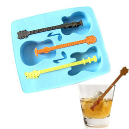 Wholesale Chocolate Bar Cake - 3 Holes Guitar Ice Mold Silicone & Plastic Music Ice Maker Tool DIY Ice Cream Moulds Cake Chocolate Mould Bar Drinking Tools