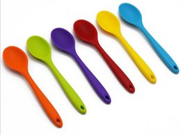 Wholesale Colorful Utensils - Kitchen Mini Silicone Spoon Colorful Heat Resistant Spoons Kitchenware Cooking Tools Utensil