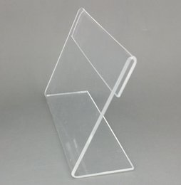 Wholesale Clear Tags - Various Middle Size T1.2mm Clear Acrylic Plastic Sign Display Paper Label Card Price Tag Holder L Shaped Stand Horizontal On Table 20pcs