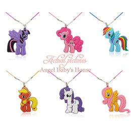Wholesale Pvc Necklace - 20PCS Beautiful Horses Cartoon Soft PVC Pendants+Necklaces Girl Boy's Accessories Rope Chain Chocker Kids Gifts Party Favors Kid Accessory