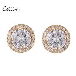 Wholesale Wedding Arrow - Top quality arrows zircon stud earrings cz stone round earrings gold silver for women brincos wedding party jewelry new