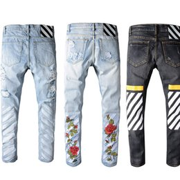 Wholesale Embroidery Jeans Pants - robin jeans for men off white embroidery jeans Ripped Denim Knee Hole Zipper mens harem pants Destroyed Torn joggers Biker robins jeans
