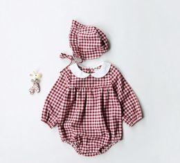 Wholesale Long Pet - Ins NEW ARRIVAL fall infant Kids Cotton Long Sleeve pet pan collar plaid print Romper + headband 100% cotton baby Climb spring autumn romper