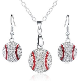 Wholesale fashion for friends - Crystal Baseball Pendant Earrings Necklace Jewelry Sets Fashion Sports Jewelry Best Friend Gift For Team Club Base Ball Lovers
