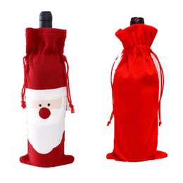 Wholesale Wholesale Wine Bags - Christmas Decorations for Home Santa Claus Wine Bottle Cover Bag Santa Sack Noel Decoration Supplies Wholesale 0708029