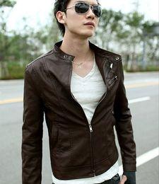 Wholesale Jacket Leather Men Korea - 2015 men's Jacket New Korea Men Slim Fit Designed PU Leather Coat Jacket Black Brown